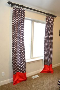 Custom Brown Polka Dot and Red Cotton Fabric Curtains, MADE to Order,  OR Pick Your Colors and Fabrics