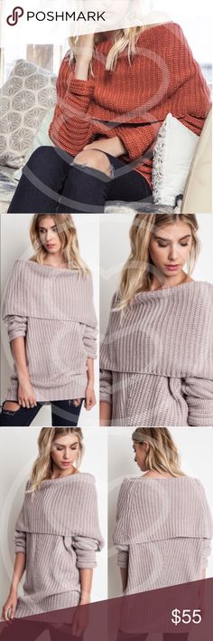 SYDNEY sweater top - BRICK Chunky sweater top.   AVAILABLE IN RUST AND MUAVE   !!!NO TRADE, PRICE FIRM!!! Bellanblue Tops