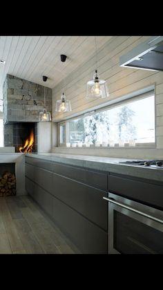 Kitchen-Fireplace/oven in Norwegian kitchen; House Design, House, Home, Kitchen Trends, New Homes, Kitchen Fireplace, Home Kitchens, Modern Kitchen Design, Kitchen Design