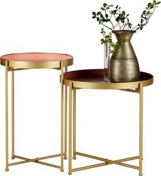 This eye-catching set of tables would be a stylish addition to your home. Due to the different sizes of the tables they can easily be put together forming a beautiful combination. The two tables are made of metal and the table tops are Furniture, Home, Table Settings, Side Table, Family Living Rooms, Table, Furniture Collection, Metal Side Table, Side Coffee Table