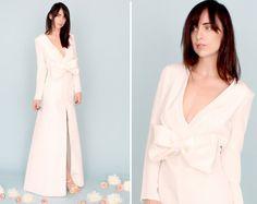 AMANTINE: Long sleeve wedding dress gown silk faille bow low back modern alternative boho plunge neck