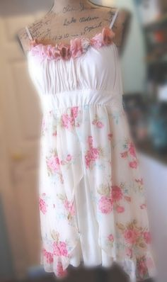 Little Sundress w Vintage Style Altered Womens by OfLinenandLace Nice site...altered clothing.