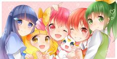 Yellow Eyes, Pink Eyes, Green Eyes, Green Hair, Blue Hair, Pink Hair, Smile Pretty Cure, Glitter Force, Manga