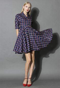 Plaid Check Flair A-line Dress - New Arrivals - Retro, Indie and Unique Fashion