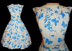 50's Novelty BUTTERFLY Print Day Dress // Vintage 1950's White & Blue Butterflies // Full Skirt Floral Whimsical Bombshell Dress // by TheVintageVaultShop on Etsy