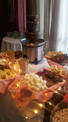 Chocolate fountain and stuff to dip in it at Aurelia's soccer banquet ... YUM: