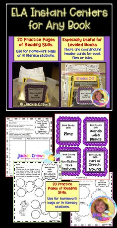 """This product makes INSTANT CENTERS for any books you have. It's a useful item to have to """"fall back"""" on or to use for substitutes as well. This English language arts skill sheet packet has 20 """"header"""" cards for identification of book box or book bag contents to make your life easier when it comes to creating centers or homework with leveled books! It has four blank """"write-in"""" header cards for skills not listed. It has a matching skill sheet for each header card."""