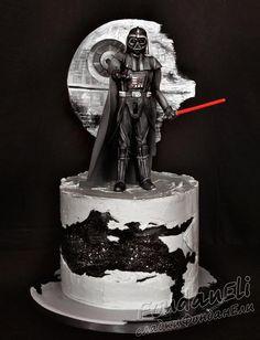 Beautiful Cakes, Amazing Cakes, Bolo Star Wars, Star Wars Party Games, Aniversario Star Wars, Star Wars Cake Toppers, Star Wars Birthday Cake, Fantasy Cake, Star Wars Wedding