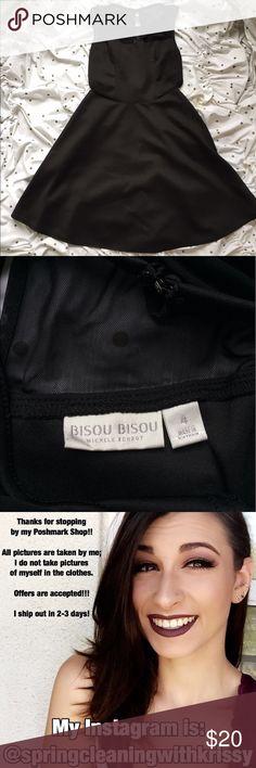 Black Dress with Mesh Cut Outs Black Bisou Bisou dress with mesh collar and mesh cut outs on each side. Never worn. Bisou Bisou Dresses