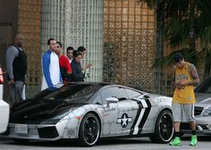 "Chris Brown in his customized ""jet fighter"" Lamborghini Gallardo. #car #celebrity, like the ride!!"