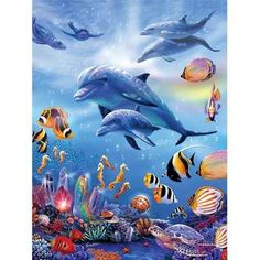 Diy diamond Painting Sea world Dolphins and fish Diamond Embroidery Full Square Diy Kit Drill Nee Dolphin Art, Underwater Painting, Ocean Underwater, Murals Your Way, Sea Art, Ocean Creatures, Tier Fotos, Cross Paintings, Sea World