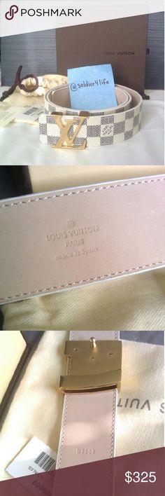 Louis Vuitton Damier Azur Initials belt Authentic Excellent New condition Louis Vuitton Damier Azur canvas Initials belt.   With box, dust bag, tags, and shopping bag  M9609  Size: 32-36 waist, 100cm/40in belt length   Polished Gold buckle, nubuck leather inner belt Louis Vuitton Accessories Belts