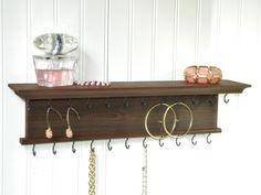 "18"" Modern Rustic Jewelry Organizer Necklace Bracelet Holder Wall Mounted Hanger Chestnut Finish Handmade  Cedar Wood"