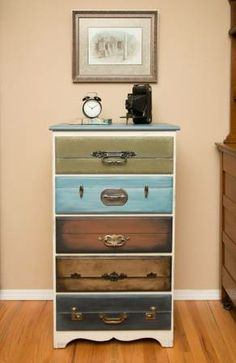 Just the image but so cute! Faux painted suitcase dresser drawers. Painted drawer fronts to look like suitcases and then attached luggage hardware.
