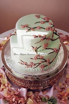 wedding cake with cranes and cherry blossoms | Two tier Asian theme Cherry Blossom wedding cake with pink buttercream ...