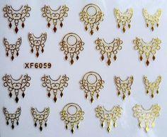 Uñas de Transferencia de agua Etiqueta Engomada Del Arte 3D Hermoso tallado de oro de diseño de la muchacha y las mujeres manicura herramientas Nail Wraps Tatuajes XF6059