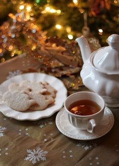 hot tea and cookies on a cold Christmas night
