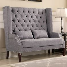Kaylee gray fabric high back tufted love seat entry dining bench. Love seat measures x x H. Dining Room Playroom Combo, Dining Room Bench, Dining Nook, Living Room Chairs, Table Bench, High Back Dining Bench, High Back Chairs, Upholstered Dining Bench, Upholstered Furniture
