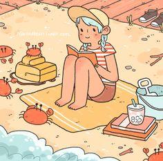 "carolinefrumentoart: ""Reading with the crabs """