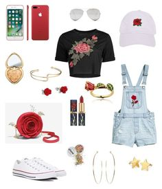 """""""Rose 🌹"""" by hayatbabay ❤ liked on Polyvore featuring Converse, Sunny Rebel, Armitage Avenue, Disney, Too Faced Cosmetics and Pernille Corydon"""