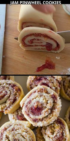 These easy christmas pinwheel cookie are made by rolling up dough filled with raspberry jam and dipping the cookies in sugar. Fun , easy to make and perfect for Christmas!