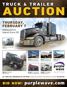Purple Wave Auction (@purplewave) on Twitter Peterbilt 386, Enclosed Trailers, Heavy Duty Trucks, Used Equipment, Used Trucks, Sale Promotion, Online Marketing, Tractors, Online Business