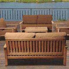 deep seat teak lounge set 5 seat including full sunbrella
