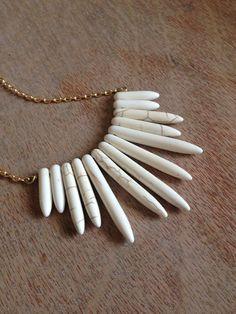 White turquoise dagger necklace   www.heygorgeousjewelry.etsy.com