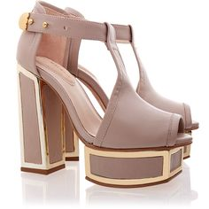 Kat Maconie Pipa T-Bar Sandals (2 290 ZAR) ❤ liked on Polyvore featuring shoes, sandals, neutrals, chunky-heel sandals, t strap platform sandal, gold shoes, nude sandals and gold t strap sandals