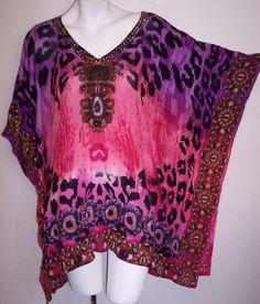 Aqua Blue Top 2X / 1X New Wearable Art Boho Hippie Rayon Tunic Shirt Blouse NWT #AquaBlue #Tunic #Casual