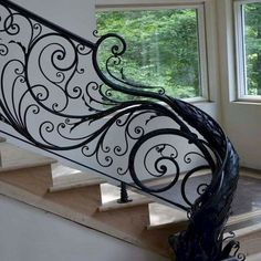 Stair Railings Settling Is Easier Than You Think - Home to Z : Metal Stair Railing, Balcony Railing Design, Iron Staircase, Staircase Railings, Staircase Design, Stairways, Banisters, Grill Design, Interior Stairs