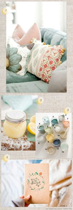 Loving duck egg blue, teal, peach, pale yellow combo I like the color combination. Colour Pallette, Colour Schemes, Duck Egg Blue Colour Palette, Design Textile, Deco Addict, Creature Comforts, Colour Board, Color Stories, My New Room