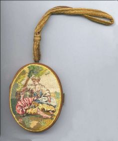 RARE Figural Crewel Vanity Purse ... view of figures stitched in silk thread.