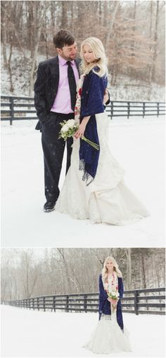 Winter wedding photos in Tennessee in the snow! - Love the floral wrap and flowers! Click to view more!