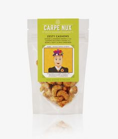 Packaging with original character illustration created by Designers Anonymous for premium flavoured nut range Carpe Nux