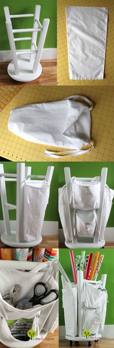 DIY :: Upside down stool - Wrapping Paper Organizer ( http://www.2littlehooligans.com/2012/06/08/fat-quarter-friday-wrapping-paper-organizer-tutorial/ ) -- Go one step further and, instead of basic knob feet, screw a basic turntable onto the top so that, when upside down and holding the craft items, it will spin as needed!!