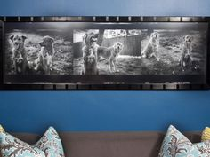 In small spaces, scale and proportion of art to furniture are important in keeping the rooms from feeling busy or cluttered. Matt and Jodi had a film negative of Baxter and Teddy printed and framed 6-foot-by-30-inches tall, in check with the scale of their L-shaped sofa.