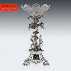 ANTIQUE 19thC VICTORIAN SOLID SILVER FIGURAL CENTREPIECE, LONDON c.1856