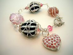 Wire Wrapped Bracelet Black White and Pink by by DebbieRenee, handmade jewelry