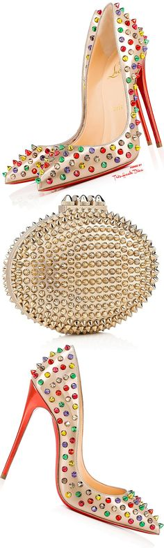 Christian Louboutin 'Follies Spikes and 'Mina' Spikes Clutch ♔THD♔