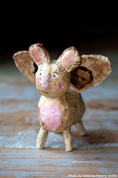 papermache angel pig...I think it is a pig! LOL maybe a bunny! Kids are great.