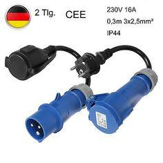 2x Adapter CEE Schuko Anschlusskabel Wohnwagen Wohnmobil 230 V 16 A 3G2,5 Kabel