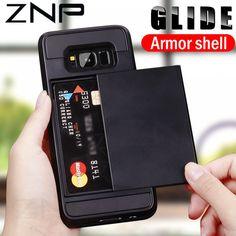 Armor Slide Card Holder Phone Case For Samsung Galaxy Plus Edge Galaxy Phone Cases, Samsung Galaxy S9, Galaxy S8, Iphone Cases, S8 Plus, Galaxy Note 9, Cover, Card Holder, Makeup