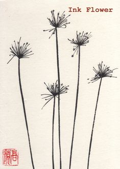 Ink drawing of Dry Fennel, medium size, original Chinese/ Japanese drawing. $18.00, via Etsy.