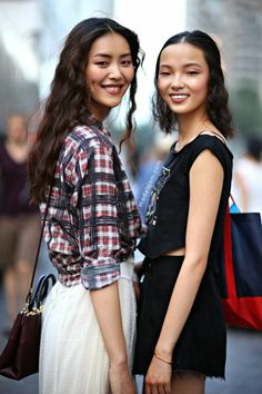 Liu Wen and Xiao Wen Ju after Anna Sui, New York, September 2013