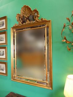 """53""""H Vintage French Provincial Rococo Gold Beveled Shell Parclose Wall MIRROR  #FrenchProvincialRococo80 #CarversGuild"""