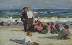 Edward Henry Potthast (American, 1857-1927) Beach scene 5 1/4 x 8 1/4in