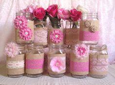 Frascos de vidrio decorado en rosa