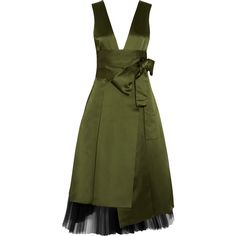 Marc by Marc Jacobs Satin and tulle dress (€335) ❤ liked on Polyvore featuring dresses, army green, green tulle dress, military green dress, tulle dress, satin dress and olive dress