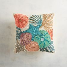 Multicolor Shells Allover Beaded Pillow in coastal, beach house decor. Cushion Embroidery, Hand Embroidery, Applique Cushions, Embroidered Cushions, Turquoise Door, Dream Furniture, Furniture Decor, Coastal Decor, Accent Pillows
